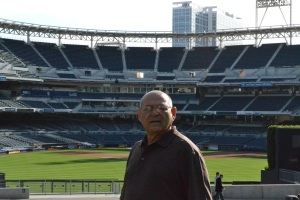 Dad at Petco Park.  He loved the feel of the park and the surrounding buildings.